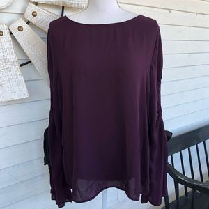 NWT Purple Chiffon Blouse with Black Ribbon Sleeve